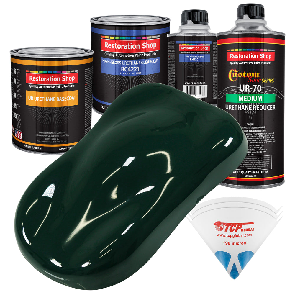 British Racing Green - Urethane Basecoat with Clearcoat Auto Paint - Complete Medium Quart Paint Kit - Professional High Gloss Automotive, Car, Truck Coating