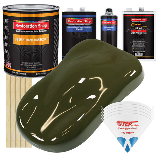 Olive Drab Green - Urethane Basecoat with Clearcoat Auto Paint - Complete Fast Gallon Paint Kit - Professional High Gloss Automotive, Car, Truck Coating