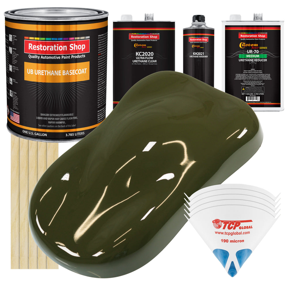 Olive Drab Green - Urethane Basecoat with Premium Clearcoat Auto Paint - Complete Medium Gallon Paint Kit - Professional High Gloss Automotive Coating