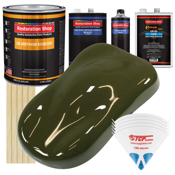Olive Drab Green - Urethane Basecoat with Clearcoat Auto Paint - Complete Slow Gallon Paint Kit - Professional High Gloss Automotive, Car, Truck Coating