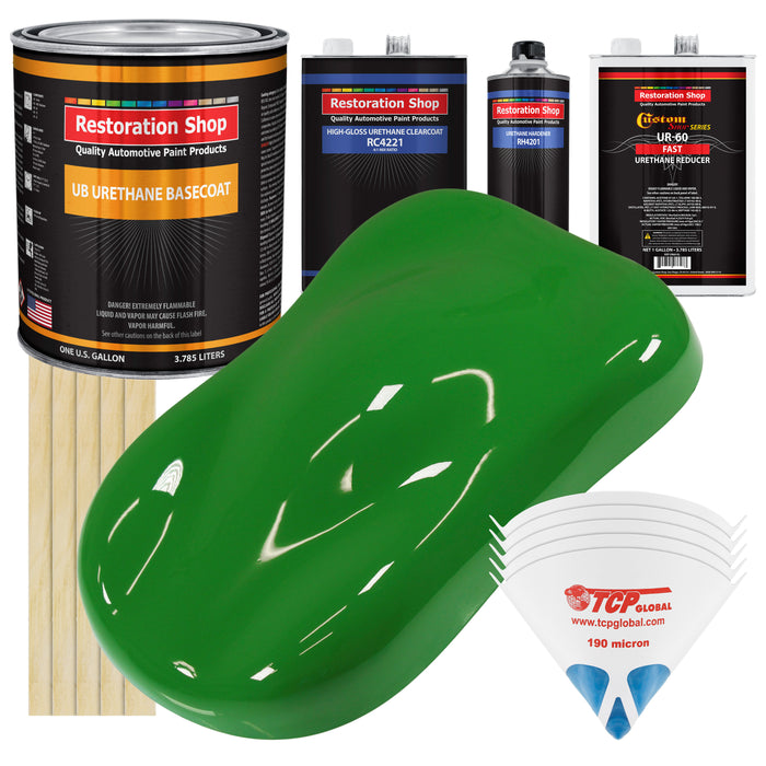 Vibrant Lime Green - Urethane Basecoat with Clearcoat Auto Paint - Complete Fast Gallon Paint Kit - Professional High Gloss Automotive, Car, Truck Coating