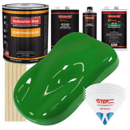 Vibrant Lime Green - Urethane Basecoat with Premium Clearcoat Auto Paint - Complete Medium Gallon Paint Kit - Professional High Gloss Automotive Coating