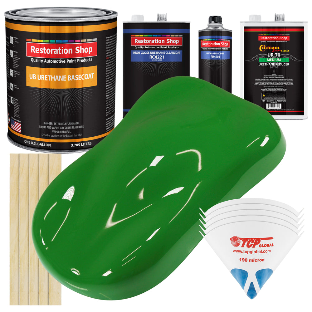 Vibrant Lime Green - Urethane Basecoat with Clearcoat Auto Paint - Complete Medium Gallon Paint Kit - Professional High Gloss Automotive, Car, Truck Coating