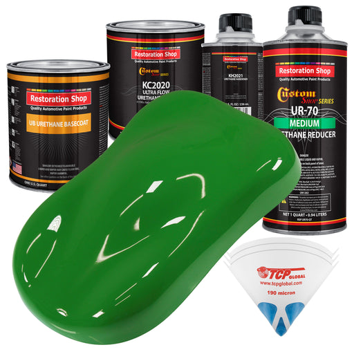 Vibrant Lime Green - Urethane Basecoat with Premium Clearcoat Auto Paint - Complete Medium Quart Paint Kit - Professional High Gloss Automotive Coating