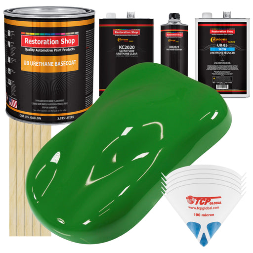 Vibrant Lime Green - Urethane Basecoat with Premium Clearcoat Auto Paint - Complete Slow Gallon Paint Kit - Professional High Gloss Automotive Coating