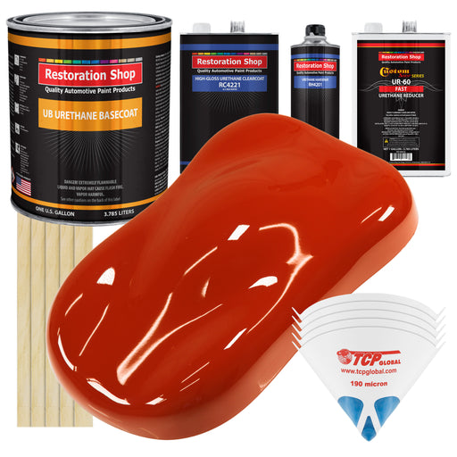 Hot Rod Red - Urethane Basecoat with Clearcoat Auto Paint - Complete Fast Gallon Paint Kit - Professional High Gloss Automotive, Car, Truck Coating