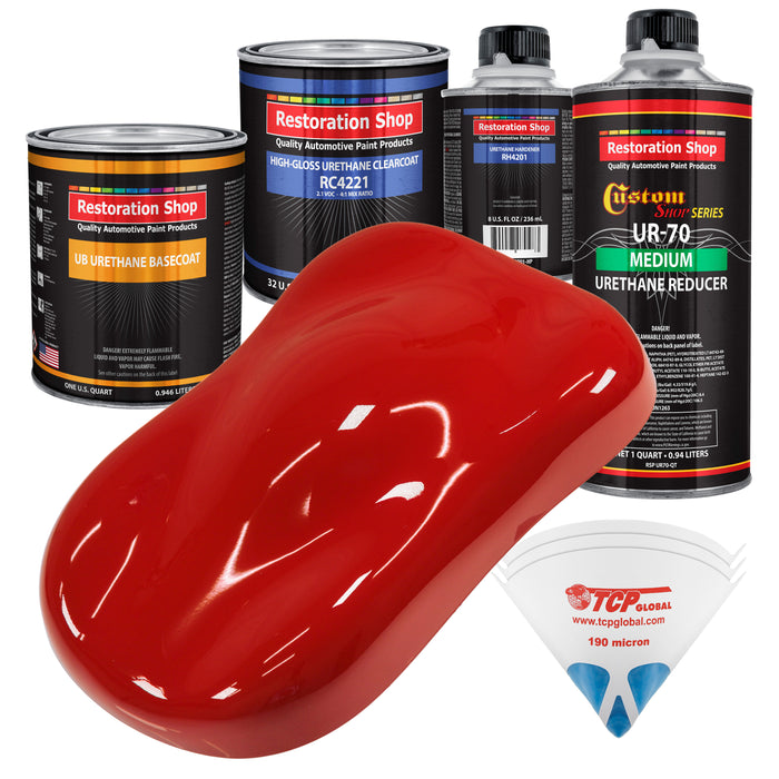 Graphic Red - Urethane Basecoat with Clearcoat Auto Paint - Complete Medium Quart Paint Kit - Professional High Gloss Automotive, Car, Truck Coating