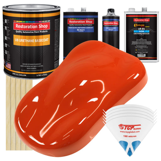 Tractor Red - Urethane Basecoat with Clearcoat Auto Paint - Complete Slow Gallon Paint Kit - Professional High Gloss Automotive, Car, Truck Coating