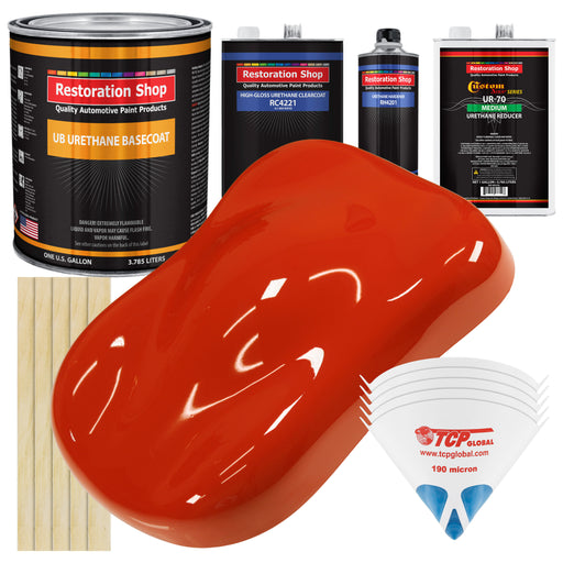 Monza Red - Urethane Basecoat with Clearcoat Auto Paint - Complete Medium Gallon Paint Kit - Professional High Gloss Automotive, Car, Truck Coating