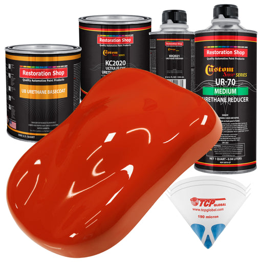 Monza Red - Urethane Basecoat with Premium Clearcoat Auto Paint - Complete Medium Quart Paint Kit - Professional High Gloss Automotive Coating