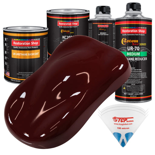 Carmine Red - Urethane Basecoat with Premium Clearcoat Auto Paint - Complete Medium Quart Paint Kit - Professional High Gloss Automotive Coating