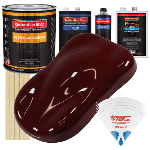 Carmine Red - Urethane Basecoat with Clearcoat Auto Paint - Complete Slow Gallon Paint Kit - Professional High Gloss Automotive, Car, Truck Coating