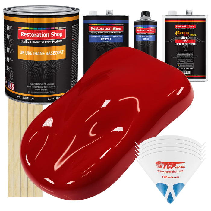 Victory Red - Urethane Basecoat with Clearcoat Auto Paint - Complete Fast Gallon Paint Kit - Professional High Gloss Automotive, Car, Truck Coating