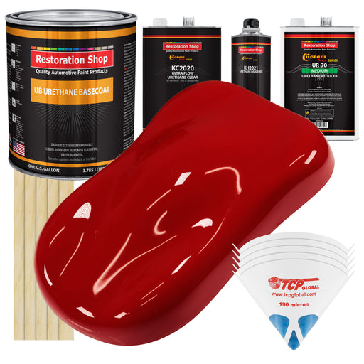 Victory Red - Urethane Basecoat with Premium Clearcoat Auto Paint - Complete Medium Gallon Paint Kit - Professional High Gloss Automotive Coating