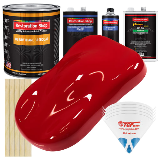 Viper Red - Urethane Basecoat with Clearcoat Auto Paint - Complete Medium Gallon Paint Kit - Professional High Gloss Automotive, Car, Truck Coating