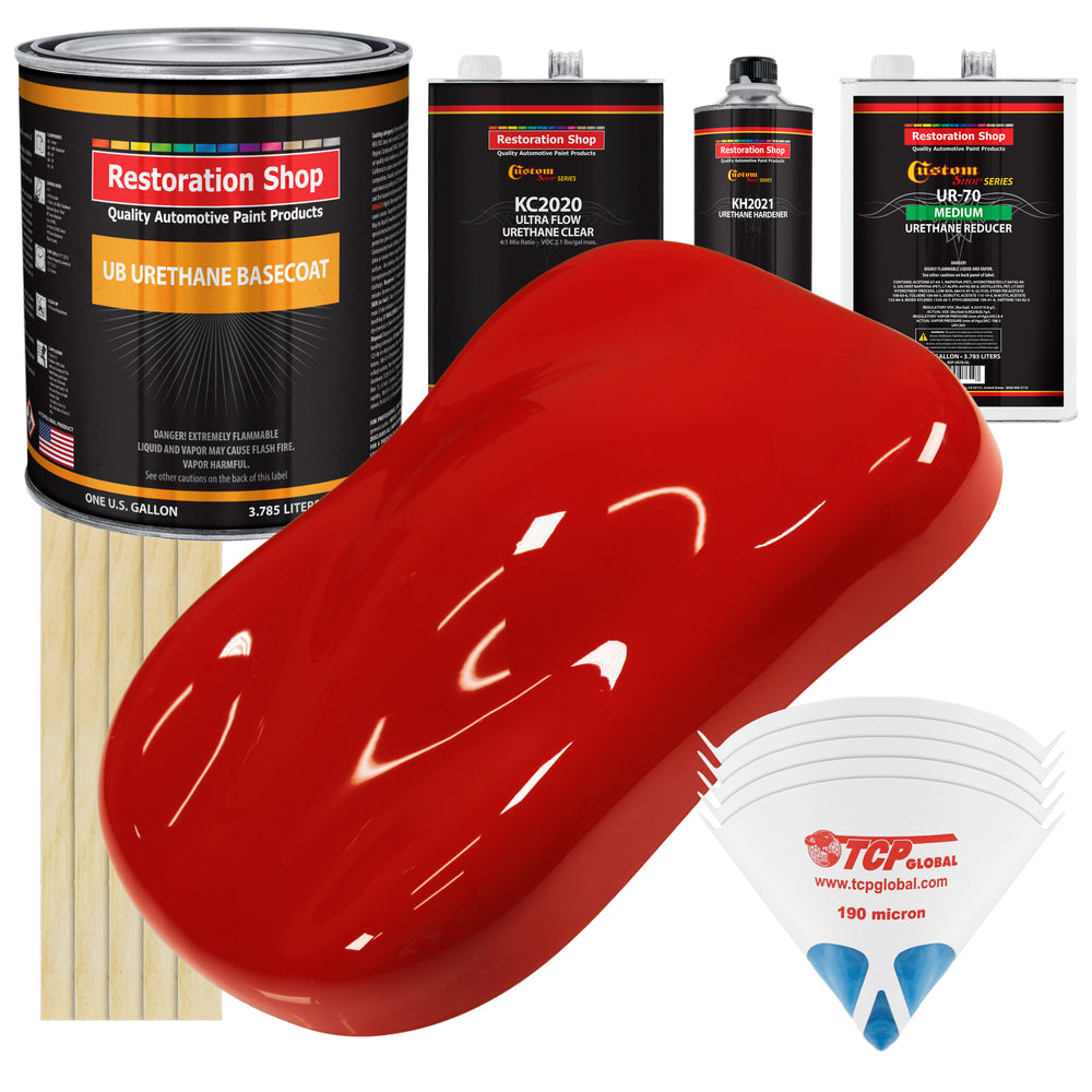 Pro Street Red - Urethane Basecoat with Premium Clearcoat Auto Paint - Complete Medium Gallon Paint Kit - Professional High Gloss Automotive Coating