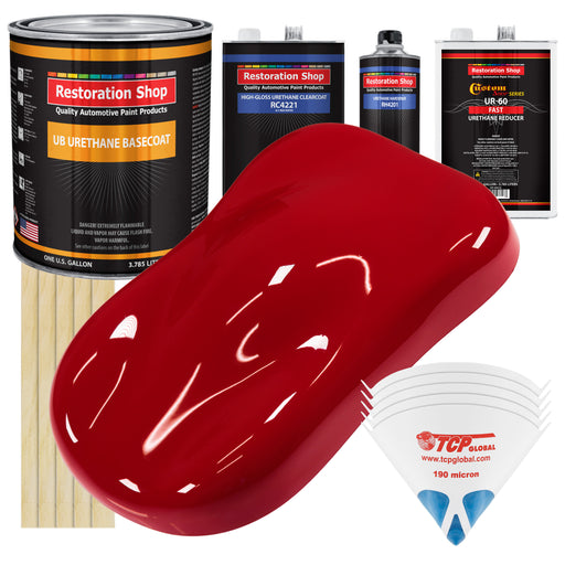 Quarter Mile Red - Urethane Basecoat with Clearcoat Auto Paint - Complete Fast Gallon Paint Kit - Professional High Gloss Automotive, Car, Truck Coating