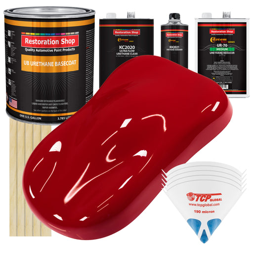 Quarter Mile Red - Urethane Basecoat with Premium Clearcoat Auto Paint - Complete Medium Gallon Paint Kit - Professional High Gloss Automotive Coating