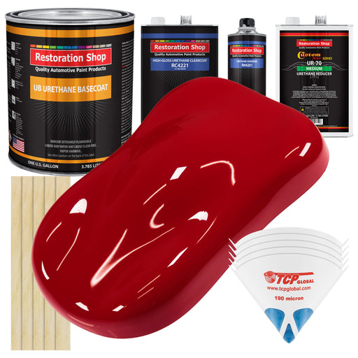 Quarter Mile Red - Urethane Basecoat with Clearcoat Auto Paint - Complete Medium Gallon Paint Kit - Professional High Gloss Automotive, Car, Truck Coating