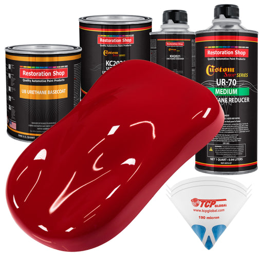 Quarter Mile Red - Urethane Basecoat with Premium Clearcoat Auto Paint - Complete Medium Quart Paint Kit - Professional High Gloss Automotive Coating