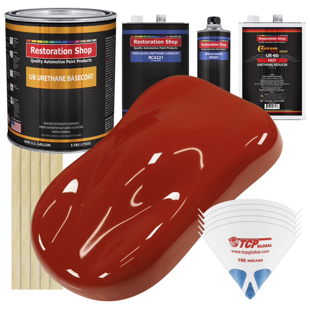 Scarlet Red - Urethane Basecoat with Clearcoat Auto Paint - Complete Fast Gallon Paint Kit - Professional High Gloss Automotive, Car, Truck Coating