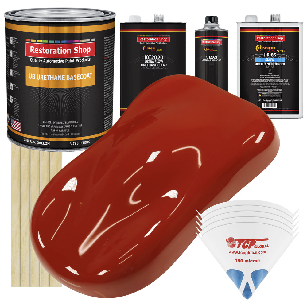 Scarlet Red - Urethane Basecoat with Premium Clearcoat Auto Paint - Complete Slow Gallon Paint Kit - Professional High Gloss Automotive Coating