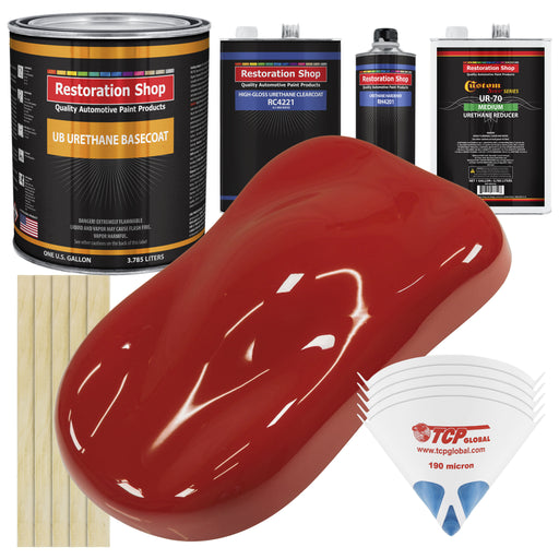 Jalapeno Bright Red - Urethane Basecoat with Clearcoat Auto Paint - Complete Medium Gallon Paint Kit - Professional High Gloss Automotive, Car, Truck Coating