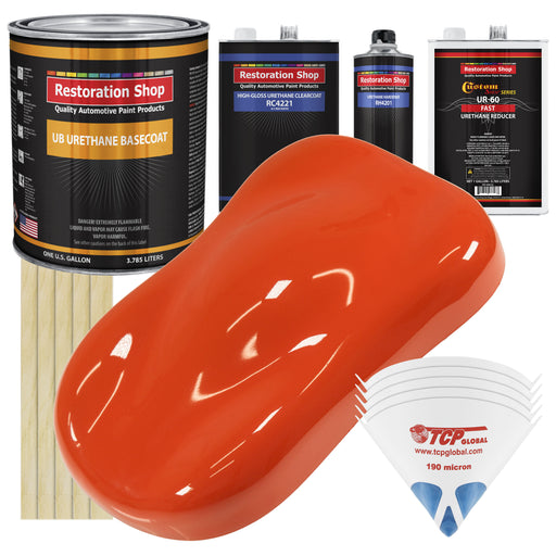 Speed Orange - Urethane Basecoat with Clearcoat Auto Paint - Complete Fast Gallon Paint Kit - Professional High Gloss Automotive, Car, Truck Coating