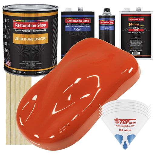 Charger Orange - Urethane Basecoat with Clearcoat Auto Paint - Complete Fast Gallon Paint Kit - Professional High Gloss Automotive, Car, Truck Coating