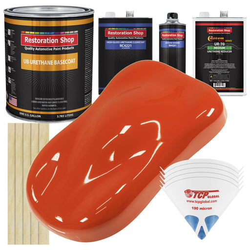 Charger Orange - Urethane Basecoat with Clearcoat Auto Paint - Complete Medium Gallon Paint Kit - Professional High Gloss Automotive, Car, Truck Coating