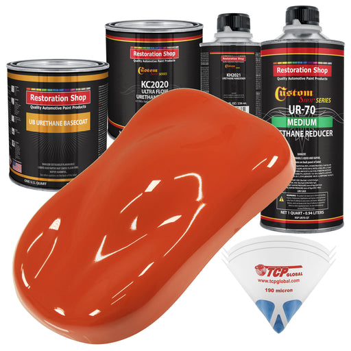 Charger Orange - Urethane Basecoat with Premium Clearcoat Auto Paint - Complete Medium Quart Paint Kit - Professional High Gloss Automotive Coating