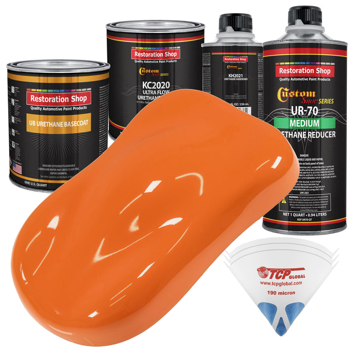 California Orange - Urethane Basecoat with Premium Clearcoat Auto Paint - Complete Medium Quart Paint Kit - Professional High Gloss Automotive Coating