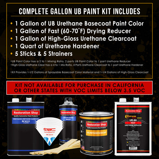 Sterling Silver Metallic - Urethane Basecoat with Clearcoat Auto Paint - Complete Fast Gallon Paint Kit - Professional High Gloss Automotive, Car, Truck Coating