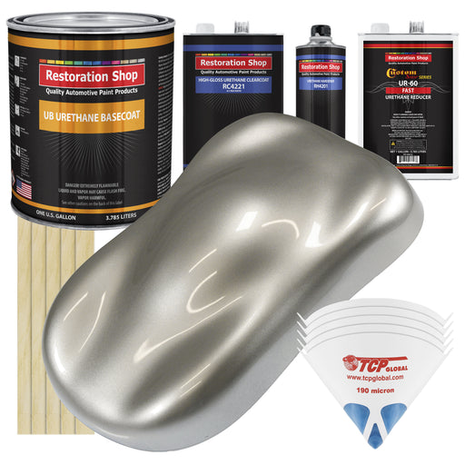 Pewter Silver Metallic - Urethane Basecoat with Clearcoat Auto Paint - Complete Fast Gallon Paint Kit - Professional High Gloss Automotive, Car, Truck Coating