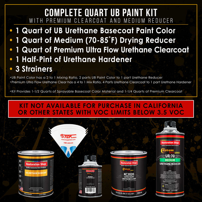 Pewter Silver Metallic - Urethane Basecoat with Premium Clearcoat Auto Paint - Complete Medium Quart Paint Kit - Professional High Gloss Automotive Coating