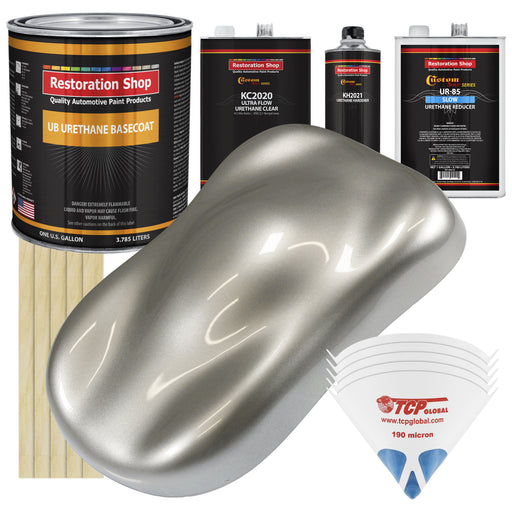 Pewter Silver Metallic - Urethane Basecoat with Premium Clearcoat Auto Paint - Complete Slow Gallon Paint Kit - Professional High Gloss Automotive Coating