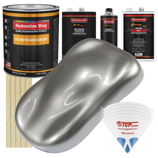 Titanium Gray Metallic - Urethane Basecoat with Premium Clearcoat Auto Paint - Complete Fast Gallon Paint Kit - Professional High Gloss Automotive Coating