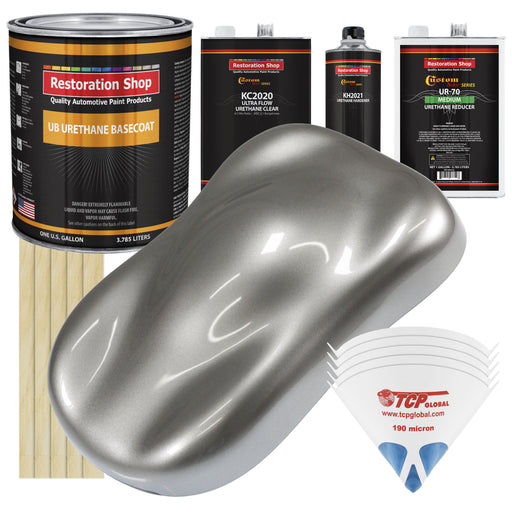 Titanium Gray Metallic - Urethane Basecoat with Premium Clearcoat Auto Paint - Complete Medium Gallon Paint Kit - Professional High Gloss Automotive Coating