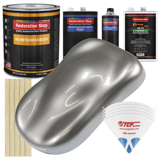 Titanium Gray Metallic - Urethane Basecoat with Clearcoat Auto Paint - Complete Medium Gallon Paint Kit - Professional High Gloss Automotive, Car, Truck Coating