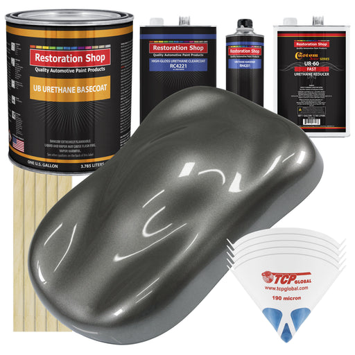 Dark Charcoal Metallic - Urethane Basecoat with Clearcoat Auto Paint - Complete Fast Gallon Paint Kit - Professional High Gloss Automotive, Car, Truck Coating