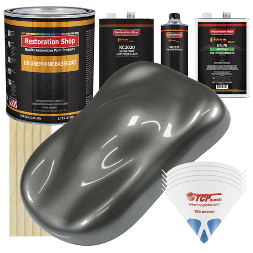 Dark Charcoal Metallic - Urethane Basecoat with Premium Clearcoat Auto Paint - Complete Medium Gallon Paint Kit - Professional High Gloss Automotive Coating