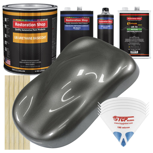 Dark Charcoal Metallic - Urethane Basecoat with Clearcoat Auto Paint - Complete Medium Gallon Paint Kit - Professional High Gloss Automotive, Car, Truck Coating