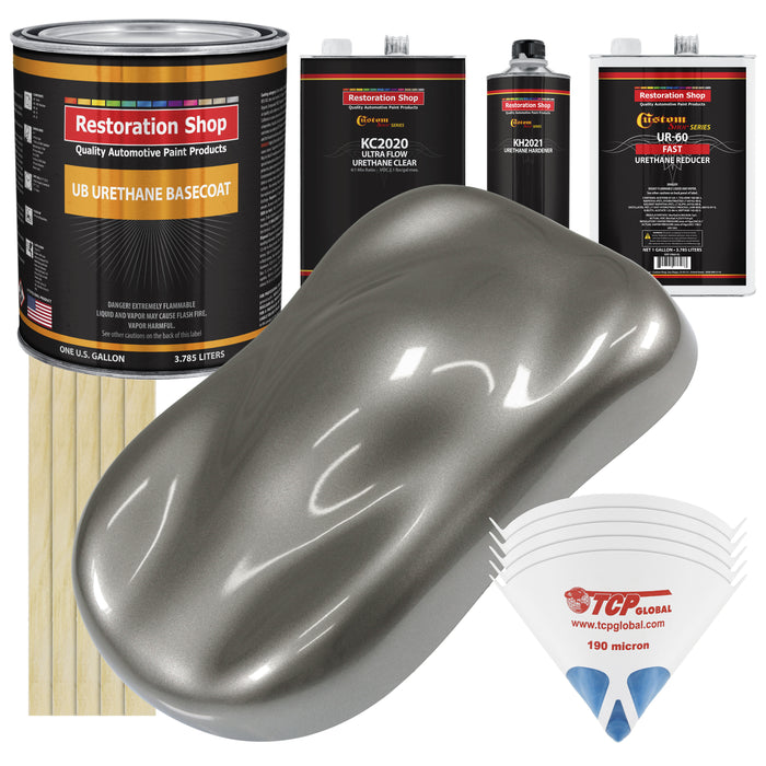 Graphite Gray Metallic - Urethane Basecoat with Premium Clearcoat Auto Paint - Complete Fast Gallon Paint Kit - Professional High Gloss Automotive Coating