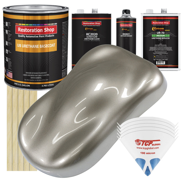 Warm Gray Metallic - Urethane Basecoat with Premium Clearcoat Auto Paint - Complete Medium Gallon Paint Kit - Professional High Gloss Automotive Coating