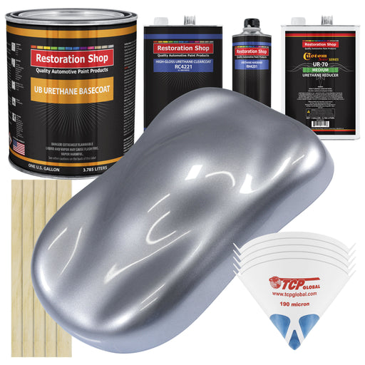 Cool Gray Metallic - Urethane Basecoat with Clearcoat Auto Paint - Complete Medium Gallon Paint Kit - Professional High Gloss Automotive, Car, Truck Coating