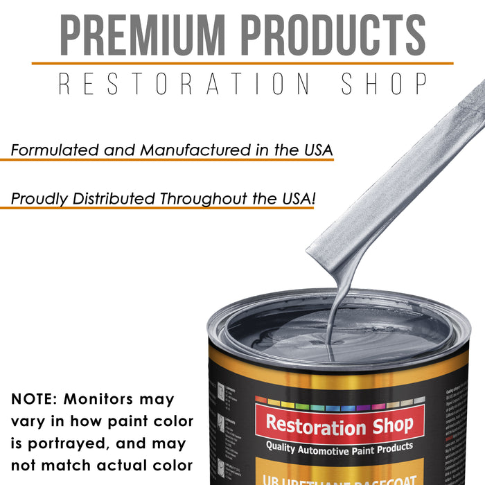 Cool Gray Metallic - Urethane Basecoat with Clearcoat Auto Paint - Complete Medium Quart Paint Kit - Professional High Gloss Automotive, Car, Truck Coating