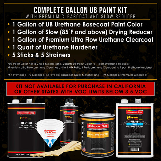 Black Metallic - Urethane Basecoat with Premium Clearcoat Auto Paint - Complete Slow Gallon Paint Kit - Professional High Gloss Automotive Coating