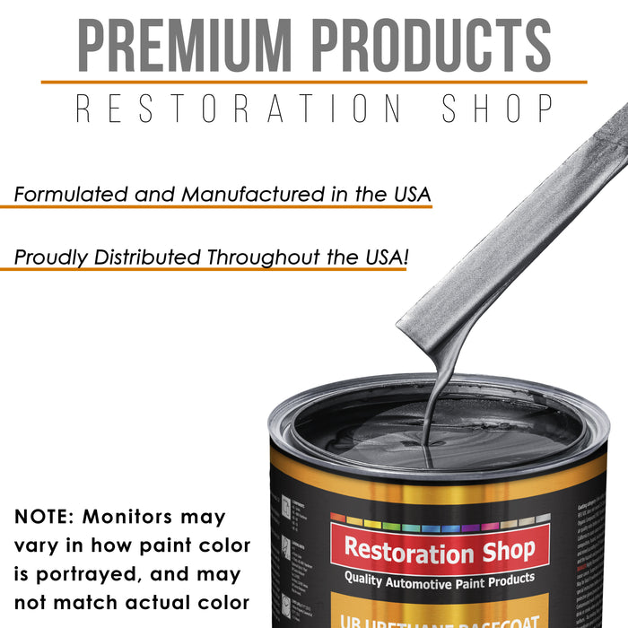 Gunmetal Grey Metallic - Urethane Basecoat with Clearcoat Auto Paint - Complete Medium Gallon Paint Kit - Professional High Gloss Automotive, Car, Truck Coating