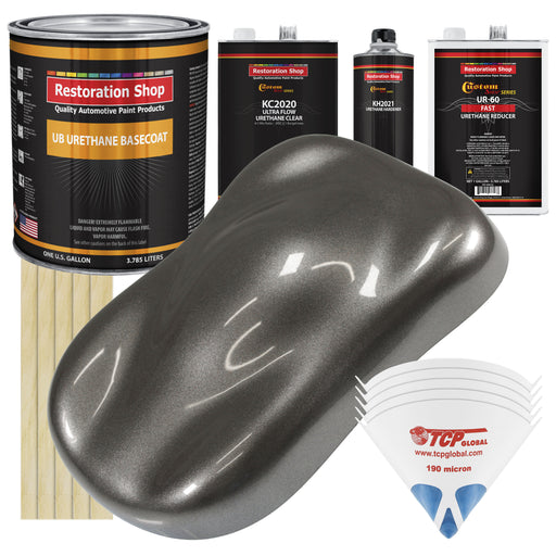 Tunnel Ram Gray Metallic - Urethane Basecoat with Premium Clearcoat Auto Paint - Complete Fast Gallon Paint Kit - Professional High Gloss Automotive Coating