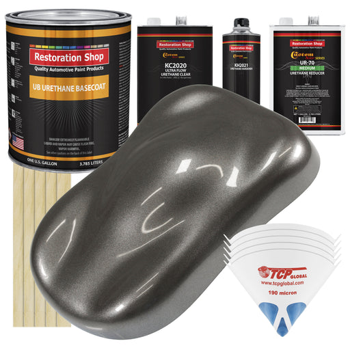 Tunnel Ram Gray Metallic - Urethane Basecoat with Premium Clearcoat Auto Paint - Complete Medium Gallon Paint Kit - Professional High Gloss Automotive Coating